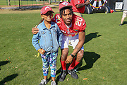 Jan 25, 2019; Kissimmee, FL, USA; Jacksonville Jaguars cornerback Jalen Ramsey (20) poses with a young fan after the NFC team photo for the 2019 Pro Bowl at ESPN Wide World of Sports Complex. (Kim Hukari/Image of Sport)