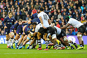 Scotland drive over the line for a try during the 2018 Autumn Test match between Scotland and Fiji at Murrayfield, Edinburgh, Scotland on 10 November 2018.