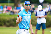 Spanish golf professional Rafa Cabrera-Bello  acknowledges his putt during the BMW PGA Championship at the Wentworth Club, Virginia Water, United Kingdom on 28 May 2016. Photo by Simon Davies.