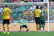 Wojciech Pawlowski goalkeeper of Slask Wroclaw misses the goal during international friendly soccer match between WKS Slask Wroclaw and BVB Borussia Dortmund on Municipal Stadium in Wroclaw, Poland.<br /> <br /> Poland, Wroclaw, August 6, 2014<br /> <br /> Picture also available in RAW (NEF) or TIFF format on special request.<br /> <br /> For editorial use only. Any commercial or promotional use requires permission.<br /> <br /> Mandatory credit:<br /> Photo by © Adam Nurkiewicz / Mediasport