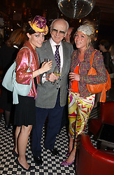 Left to right, STEPHANIE LUNDELL, SIR PETER O'SULLEVAN and COZMO JENKS at a party to celebrate the launch of Ladies' Day at The Vodafone Derby Festival held at Frankie's Bar & Grill, 3 Yeomans Row, London SW7 on 19th April 2005.<br />