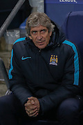 Manchester City Manager Manuel Pellegrini  during the Champions League match between Manchester City and Borussia Monchengladbach at the Etihad Stadium, Manchester, England on 8 December 2015. Photo by Simon Davies.