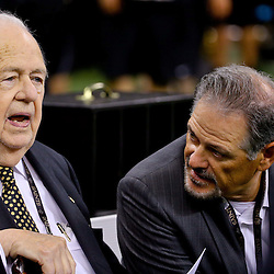 Aug 30, 2015; New Orleans, LA, USA; New Orleans Saints owner Tom Benson talks to general manager Mickey Loomis before a preseason game against the Houston Texans at the Mercedes-Benz Superdome. Mandatory Credit: Derick E. Hingle-USA TODAY Sports