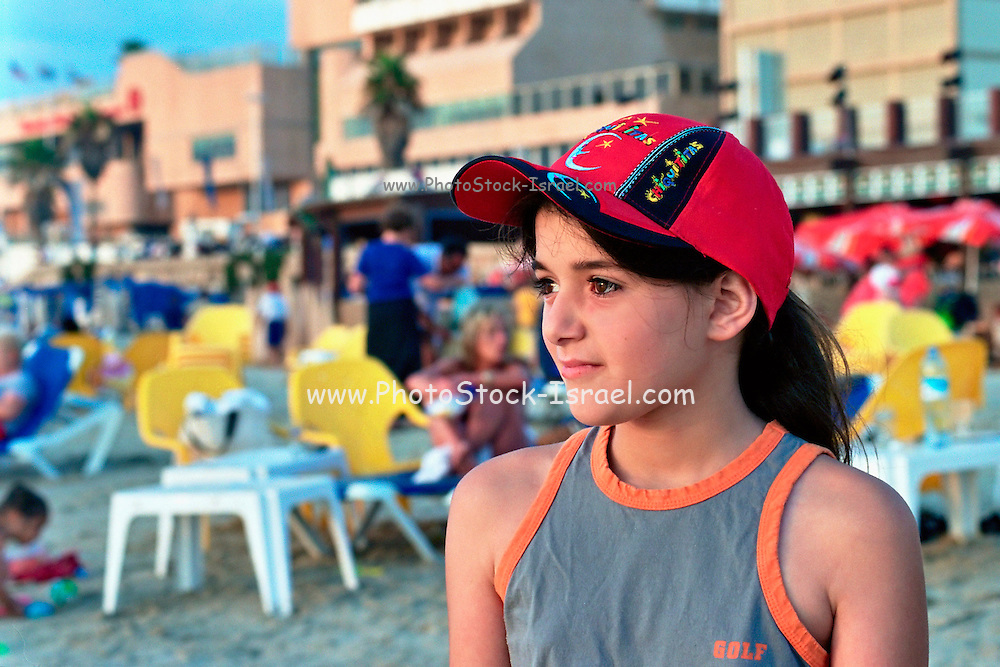 Israel, Tel Aviv, Young 10 year old girl on the beach Model Released
