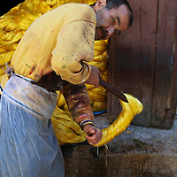 Africa, Morocco, Fes. Process of dying silk threads in Fes.
