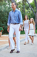 King Felipe VI of Spain, Crown Princess Leonor, Queen Letizia of Spain, Princess Sofia pose for the photographers at the Marivent Palace on August 4, 2016 in Palma de Mallorca, Spain.