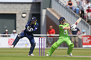 Alex Davies (Wicket Keeper) on his way for Lanc's during the Specsavers County Champ Div 1 match between Lancashire County Cricket Club and Durham County Cricket Club at the Emirates, Old Trafford, Manchester, United Kingdom on 20 May 2018. Picture by George Franks.