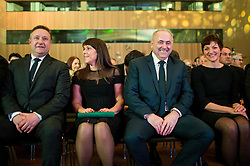Marko Vavpetic, secretary general of NZS, Radenko Mijatovic, president of NZS and Maja Makovec Brencic, Minister of Education and Sport during Traditional New Year party of of the Slovenian Football Association - NZS, on December 18, 2017 in Kongresni center, Brdo pri Kranju, Slovenia. Photo by Vid Ponikvar / Sportida