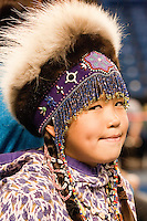 Competitor in the Native children's contest, World Eskimo Indian Olympics 2009, Fairbanks, Alaska