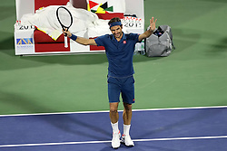 DUBAI, March 1, 2019  Roger Federer of Switzerland celebrates after winning the singles quarterfinal match between Roger Federer of Switzerland and Marton Fucsovics of Hungary at the ATP Dubai Duty Free Tennis Championships 2019 in Dubai, the United Arab Emirates, Feb. 28, 2019. Roger Federer won 2-0 to proceed to the semifinals. (Credit Image: © Mahmoud Khaled/Xinhua via ZUMA Wire)