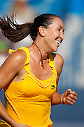 CINCINNATI, OH - AUGUST 16: Jelena Jankovic of Serbia in celebrates during the women's singles final against top-ranked Dinara Safina of Russia in the Western & Southern Financial Group Women's Open on August 16, 2009 at the Lindner Family Tennis Center in Cincinnati, Ohio. Jankovic defeated Safina 6-4, 6-2. (Photo by Joe Robbins)