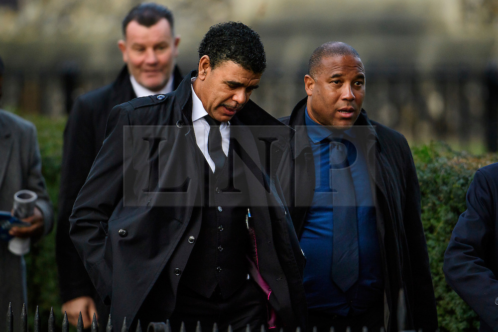 © Licensed to London News Pictures. 01/02/2017. Watford, UK. Former footballers CHRIS KAMARA and JOHN BARNES attend the funeral of former England football team manager Graham Taylor at St Mary's Church in Watford, Hertfordshire. The former England, Watford and Aston Villa manager,  who later went on to be chairman of Watford Football Club, died at the age of 72 from a suspected heart attack. Photo credit: Ben Cawthra/LNP