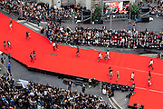 Paris, France. September 30th 2010..The world biggest fashion show, organized by the department store Galeries Lafayette, rue Gluck, in the 9th arrondissement. (700 participants selected over 10 000, a 75 meters catwalk, several dozens of makeup artists and hairdressers).