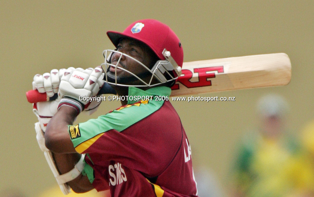 West Indies captain Brian Lara hits out during his innings of 77 at the Super 8 Cricket World Cup match, West Indies vs Australia at the Sir Vivian Richards Cricket Ground in Antigua, West Indies on Wednesday 28 March 2007. Australia batted first and scored 322 for 6. Play continued today after rain stopped play yesterday. Australia won by 103 runs. Photo: Andrew Cornaga/PHOTOSPORT<br />