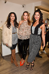 Left to right, Roxie Nafousi, Laura Pradelska and Lara Fraser at a party to launch Ashley Robert's new footwear range Allyn held ay Larizia, 74 St.John's Wood High Street, London England. 8 February 2017.