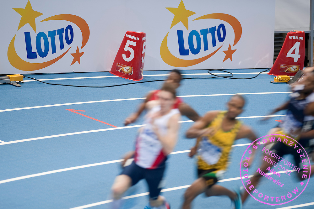 Lotto's advertise banner while men's 3000 meters qualification during the IAAF Athletics World Indoor Championships 2014 at Ergo Arena Hall in Sopot, Poland.<br /> <br /> Poland, Sopot, March 7, 2014.<br /> <br /> Picture also available in RAW (NEF) or TIFF format on special request.<br /> <br /> For editorial use only. Any commercial or promotional use requires permission.<br /> <br /> Mandatory credit:<br /> Photo by &copy; Adam Nurkiewicz / Mediasport