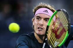 DUBAI, March 1, 2019  Stefanos Tsitsipas of Greece returns a shot during the singles quarterfinal match between Stefanos Tsitsipas of Greece and Hubert Hurkacz of Poland at the ATP Dubai Duty Free Tennis Championships 2019 in Dubai, the United Arab Emirates, Feb. 28, 2019. Stefanos Tsitsipas won 2-1 to proceed to the semifinals. (Credit Image: © Mahmoud Khaled/Xinhua via ZUMA Wire)