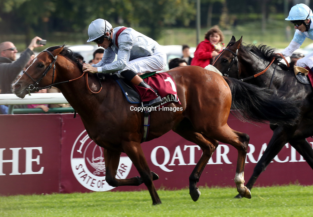 Olympic Glory ridden by Richard Hughes celebrates winning the Prix Jean-Luc Lagardere (grand Criterium) Sponsorise Par Al Emadi Enterprises race  at Lonchamp in Paris, France, October 7, 2012. Photo by i-Images.