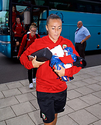 NEWPORT, WALES - Tuesday, August 28, 2018: Wales' Natasha Harding arrives before a training session at Dragon Park ahead of the final FIFA Women's World Cup 2019 Qualifying Round Group 1 match against England. (Pic by David Rawcliffe/Propaganda)