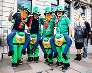 Ireland fans enjoying the pre match atmosphere<br /> <br /> Photographer Simon King/Replay Images<br /> <br /> Six Nations Round 5 - Wales v Ireland - Saturday 16th March 2019 - Principality Stadium - Cardiff<br /> <br /> World Copyright © Replay Images . All rights reserved. info@replayimages.co.uk - http://replayimages.co.uk