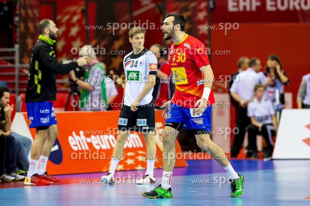 31.01.2016, Tauron Arena, Krakau, POL, EHF Euro 2016, Deutschland vs Spanien, Finale, im Bild Gedeon Guardiola (Nr 30, Rhein-Neckar Loewen) regt sich auf // during the 2016 EHF Euro final match between Germany and Spain at the Tauron Arena in Krakau, Poland on 2016/01/31. EXPA Pictures &copy; 2016, PhotoCredit: EXPA/ Eibner-Pressefoto/ Koenig<br /> <br /> *****ATTENTION - OUT of GER*****