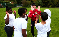 Bristol Sport and Bristol Energy launch their partnership at Millpond School with help from Jas Matthews Bristol City Women - Mandatory by-line: Robbie Stephenson/JMP - 09/10/2017 - SPORT - Millpond School - Bristol, England - Bristol Sport and Bristol Energy Partnership Launch