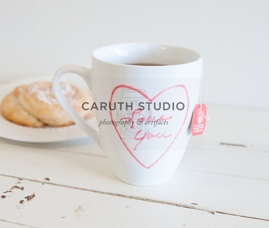 Tea mug with Valentine message written with ceramic paint pen
