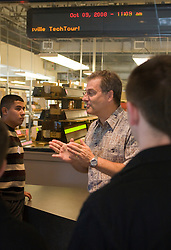 John Peterson, Sales Engineering Manager at INOVA talks to students from Albemarle High School.  The students toured INOVA Solutions in downtown Charlottesville, VA as part of Charlottesville TechTour 2008 on October 9, 2008.  (Special to the Daily Progress / Jason O. Watson)