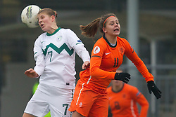 Pamela Begic of Slovenia vs Lieke Martens of Netherlands during football match between Women national teams of Slovenia and Netherlands in 4th Round of EURO 2013 Qualifications, on November 19, 2011 in Ivancna Gorica, Slovenia. Netherlands defeated Slovenia 2-0. (Photo By Vid Ponikvar / Sportida.com)