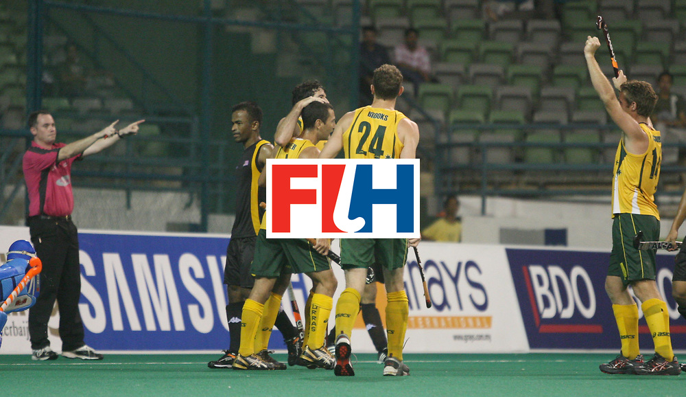 Kuala Lumpur :  Australians celebrating their goal against Malaysia which was scored by Russell Ford in the Samsung Hockey Men Champions Trophy at the National Stadium, Bukit Jalil, Kaula lumpur, Malaysia on 29 Nov 2007.  <br /> Photo:GNN/Vino John