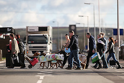 © Licensed to London News Pictures. 09/03/2017. Birmingham, UK. Dogs, handlers and visitors all arrives at the 126th annual Crufts dog show at the NEC in Birmingham, West Midlands. The show is organised by the Kennel Club and is the biggest of it's kind in the world.  Photo credit : Ian Hinchliffe/LNP