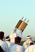 Israel, West Bank, samaritan raising of the Torah Scrolls on mount gerizim