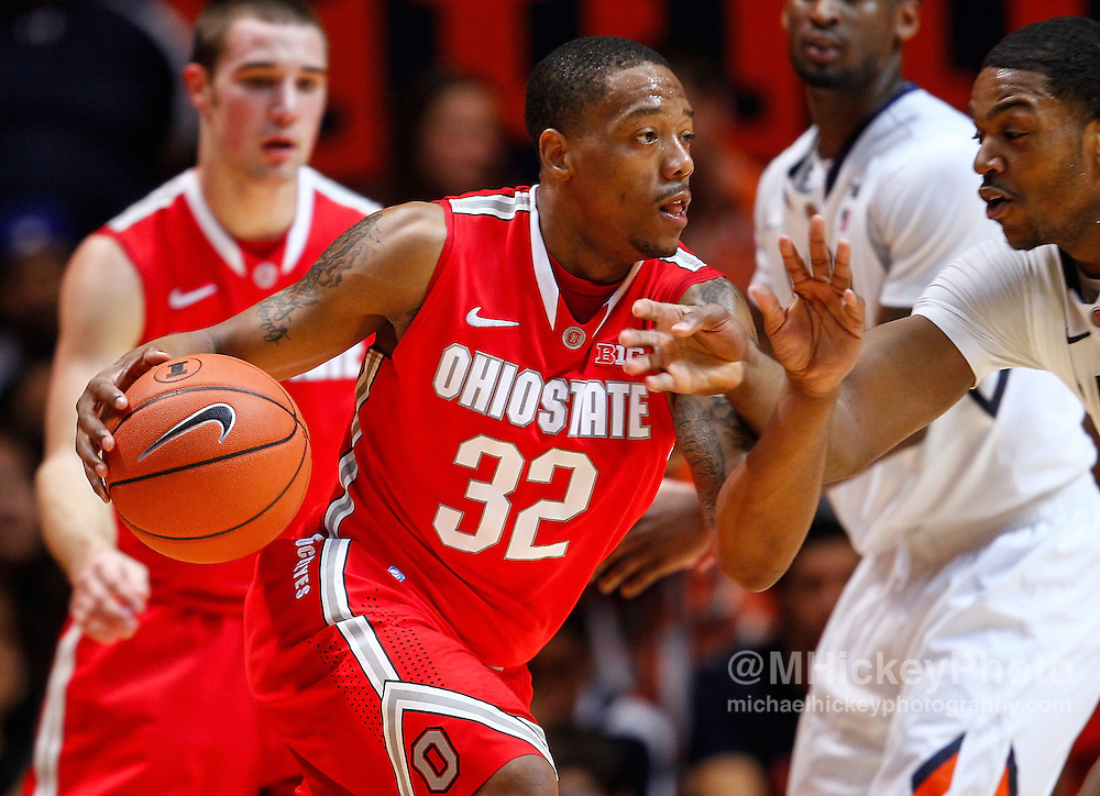 CHAMPAIGN, IL - JANUARY 05: Lenzelle Smith Jr #32 of the Ohio State Buckeyes is seen during the game against the Illinois Fighting Illini at Assembly Hall on January 5, 2013 in Champaign, Illinois. Ilinois defeated Ohio State 74-55. (Photo by Michael Hickey/Getty Images) *** Local Caption *** Lenzelle Smith Jr.