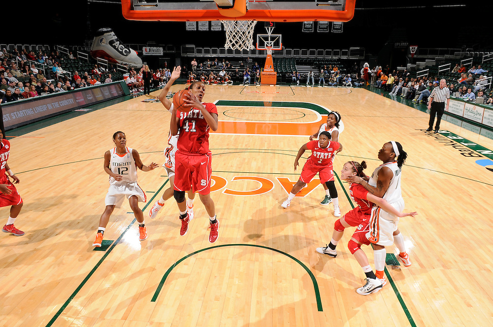 January 5, 2012: Lakeesa Daniel #41 of North Carolina State in action during the NCAA basketball game between the Miami Hurricanes and the North Carolina State Wolfpack at the BankUnited Center in Coral Gables, FL. The Hurricanes defeated the Wolfpack 78-68.