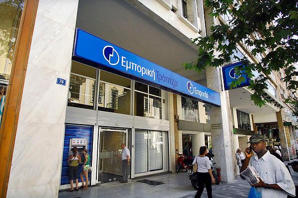 Griekenland, Lamia, 5-7-2008Gebouw van emporiki bank, financiele instelling.Bank,building,finance,crisis,financial,atm,moneyFoto: Flip Franssen