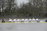 London. UNITED KINGDOM.  Oxford University BC vs German Crew. Varsity Fixture before the 159th BNY Mellon Boat Race on the Championship Course, River Thames, Putney/Mortlake.  Sunday  17/03/2013    [Mandatory Credit. Intersport Images], Germany from Bow, Toni Seifert 2012 M4-, Felix Wimberger 2012 U23 M8+, Maximilian Reinelt 2012 M8+, Felix Drahotta 2012 M2-, Anton Braun 2012 M2-, Kristof Wilke 2012 M8+, Richard Schmidt 2012 M8+, Eric Johannesen 2012 M8+ and Cox Martin Sauer 2012 M8+..Germany passing the boathouses at Putney.