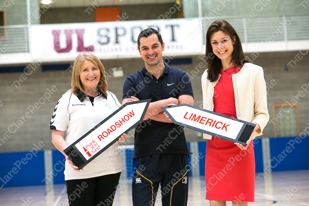 Pictured are Susan Maloney, Irish Olympic Handball Association,Karl Henry, fitness expert &amp; Erica Roseingrave, Coca-Cola at the Coca-Cola Thank You Fund Roadshow event in the University of Limerick Sports Arena. This year &euro;125,000 is on offer from the Coca-Cola Thank You Fund to non-profits with ideas around promoting active, healthy and balanced lifestyles in local communities around Ireland. Full information is available at www.coca-cola.ie/thankyou and non profit organisations are invited to apply online before the 19th July<br /> Pictured Credit Brian Gavin Press 22