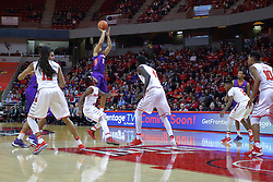 29 December 2016:  Jaylon Brown shoots the three during an NCAA  MVC (Missouri Valley conference) mens basketball game between the Evansville Purple Aces the Illinois State Redbirds in  Redbird Arena, Normal IL