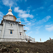 Trinity Church is a Russian Orthodox church on King George Island in the South Shetland Islands. It is situated on a small rocky hill near Russian Bellingshausen Station research base. Constructed of Siberian cedar and pine with special reinforcements against the harsh weather of Antarctica, Trinity Church was consecrated in 2004 and is the southernmost Eastern Orthodox church in the world.