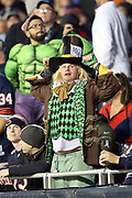 A Chicago Bears fan wears a costume on Halloween night during the Chicago Bears 2016 NFL week 8 regular season football game against the Minnesota Vikings on Monday, Oct. 31, 2016 in Chicago. The Bears won the game 20-10. (©Paul Anthony Spinelli)