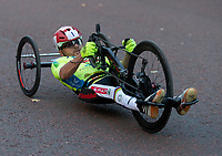 One of the competitors races along The Mall in The Prudential RideLondon Handcycle Grand Prix. Saturday 28th July 2018<br /> <br /> Photo: Ian Walton for Prudential RideLondon<br /> <br /> Prudential RideLondon is the world's greatest festival of cycling, involving 100,000+ cyclists - from Olympic champions to a free family fun ride - riding in events over closed roads in London and Surrey over the weekend of 28th and 29th July 2018<br /> <br /> See www.PrudentialRideLondon.co.uk for more.<br /> <br /> For further information: media@londonmarathonevents.co.uk
