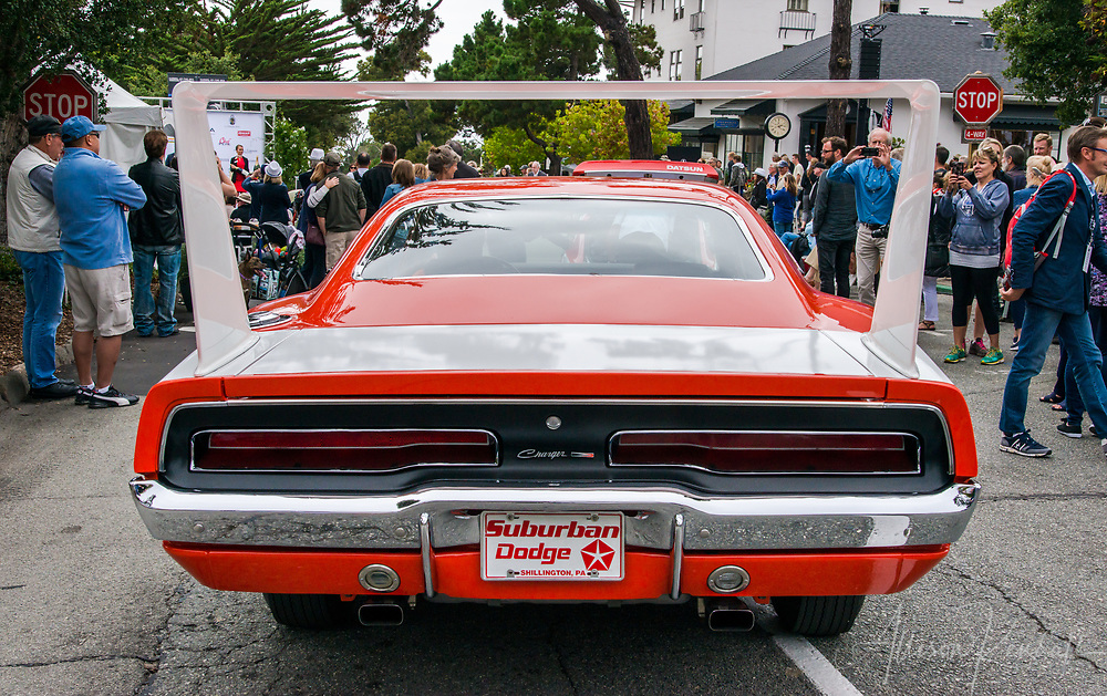 Close view of the dramatic fin on a Charger Daytona on display at the 2017 Carmel-by-the-Sea Concours on the Avenue