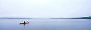 Sea kayaking in fog, Wood-Tikchik Lakes, Alaska