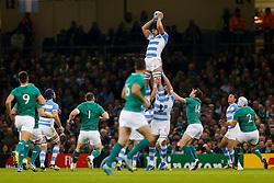 Argentina Lock Tomas Lavanini takes a high ball - Mandatory byline: Rogan Thomson/JMP - 07966 386802 - 18/10/2015 - RUGBY UNION - Millennium Stadium - Cardiff, Wales - Ireland v Argentina - Rugby World Cup 2015 Quarter Finals.