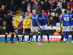 Birmingham City's Clayton Donaldson knocks the ball out of the hands of Brentford's Alex Pritchard as he prepares to take a free kick  - Photo mandatory by-line: Joe Meredith/JMP - Mobile: 07966 386802 - 28/02/2015 - SPORT - Football - Birmingham - ST Andrews Stadium - Birmingham City v Brentford - Sky Bet Championship