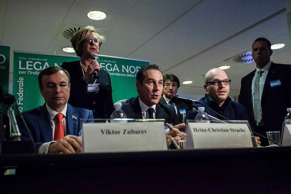 Turin, 2013/12/15. &quot;Lega Nord&quot; Party Federal Congress.<br /> IN THE PICTURE: Viktor Zubarev (United Russia) and Heinz-Christian Strache (FPO, Austria)