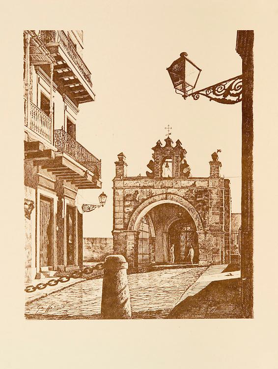 Cat. #5 - Lithographic print of Pen and Ink drawing of Capilla del Cristo, 1638, originally dedicated to St. Catherine (Santa Catalina), where, according to legend, a miracle happened, is located at the bottom of Calle del Santo Cristo in Old San Juan, Puerto Rico. This print is part of a series printed on antique colored paper.<br /> Paper size is 10x13&quot;. Image size is approximately 8x10&quot; <br /> Cat. #5 - Impresi&oacute;n litogr&aacute;fica de un dibujo a plumilla de la Capilla de Cristo, 1638, originalmente dedicada a Santa Catalina y en donde cuenta la leyenda ocurrio un milagro, esta situada al final de la Calle del Santo Cristo en el Viejo San Juan, Puerto Rico. Esta impresi&oacute;n es parte de una serie impresa en papel estilo antiguo.<br /> Tama&ntilde;o del papel es 10x13&quot;. Tama&ntilde;o de la imagen es aproximadamente 8x10&quot;
