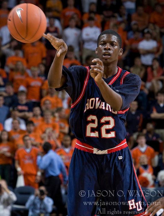 Howard forward Jeron Smith (22)..The Virginia Cavaliers men's basketball team faced the Howard Bison at the John Paul Jones Arena in Charlottesville, VA on November 14, 2007.
