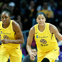 LOS ANGELES, CA - JUN 30: Candace Parker (3) of the Los Angeles Sparks brings the ball up court next to Nneka Ogwumike (30) of the Los Angeles Sparks during a game on June 30, 2019 at the Staples Center, in Los Angeles, California.