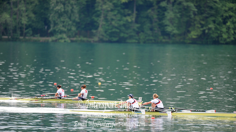 Bled, SLOVENIA,   Women's Double Sculls Final. GBR W2X. Bow, Anna WATKINS [BEBINGTON] and Katherine GRAINGER, approach the finishing line at the 1st FISA World Cup. Rowing Course. Lake Bled.  Sunday  30/05/2010  [Mandatory Credit Peter Spurrier/ Intersport Images]